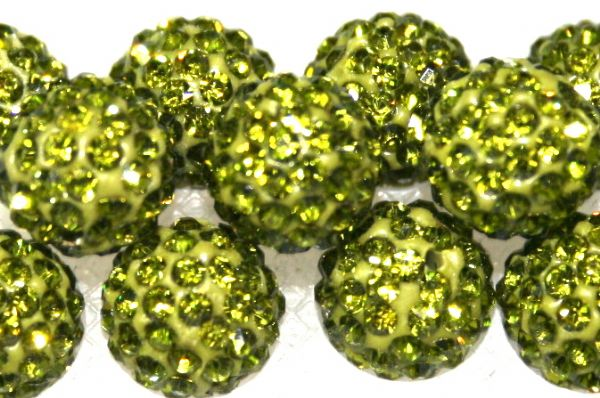 8mm Olive Green 70 Stone Pave Crystal Beads- Half Drilled  PCBHD08-070-019